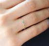 Triple Bezel Set Diamonds and Turquoise Ring 14K Gold