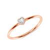 Heart Shaped Diamond Promise Ring 14K Rose Gold