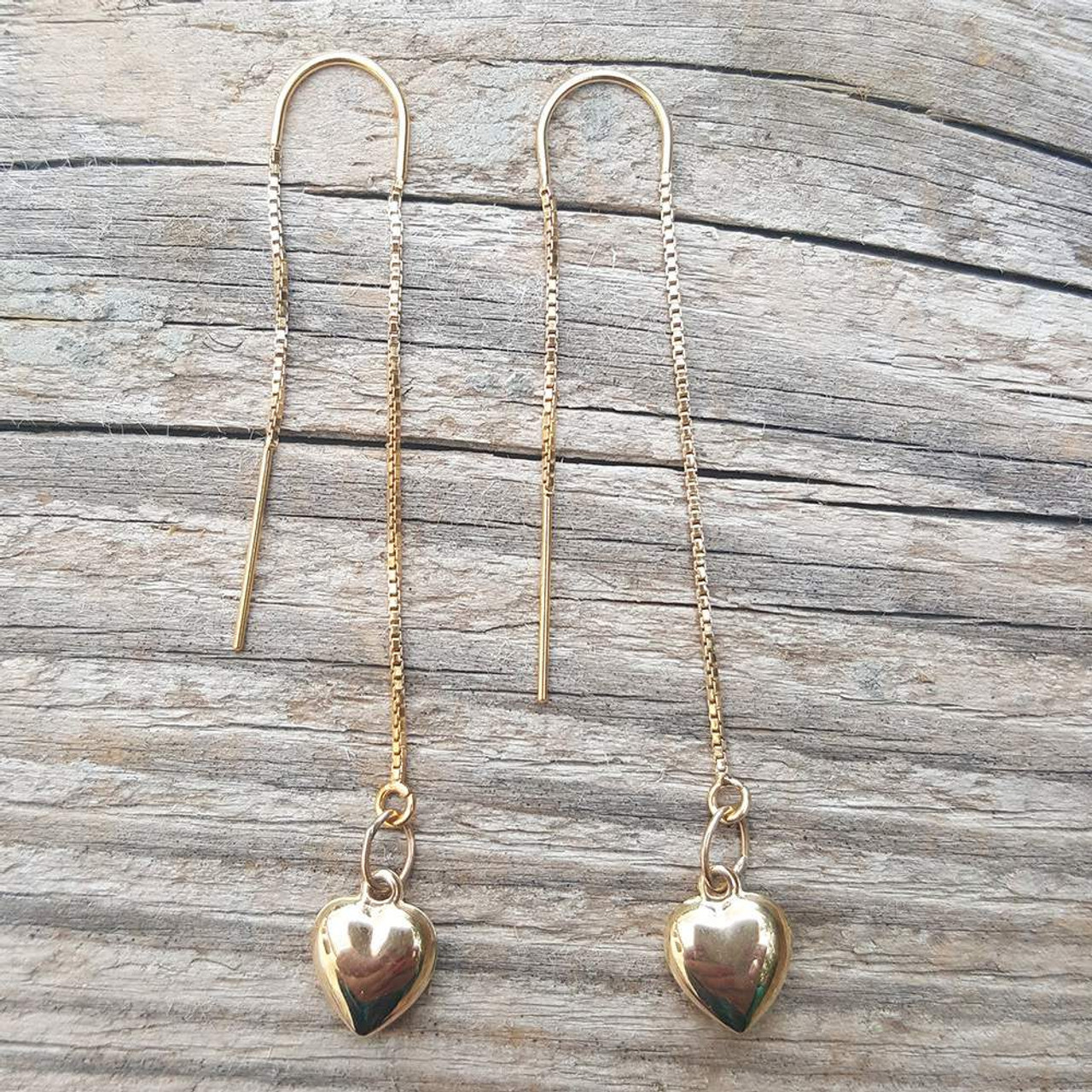 8c2406286f429 Puffy Heart U-Threader Earring 14K Yellow Gold