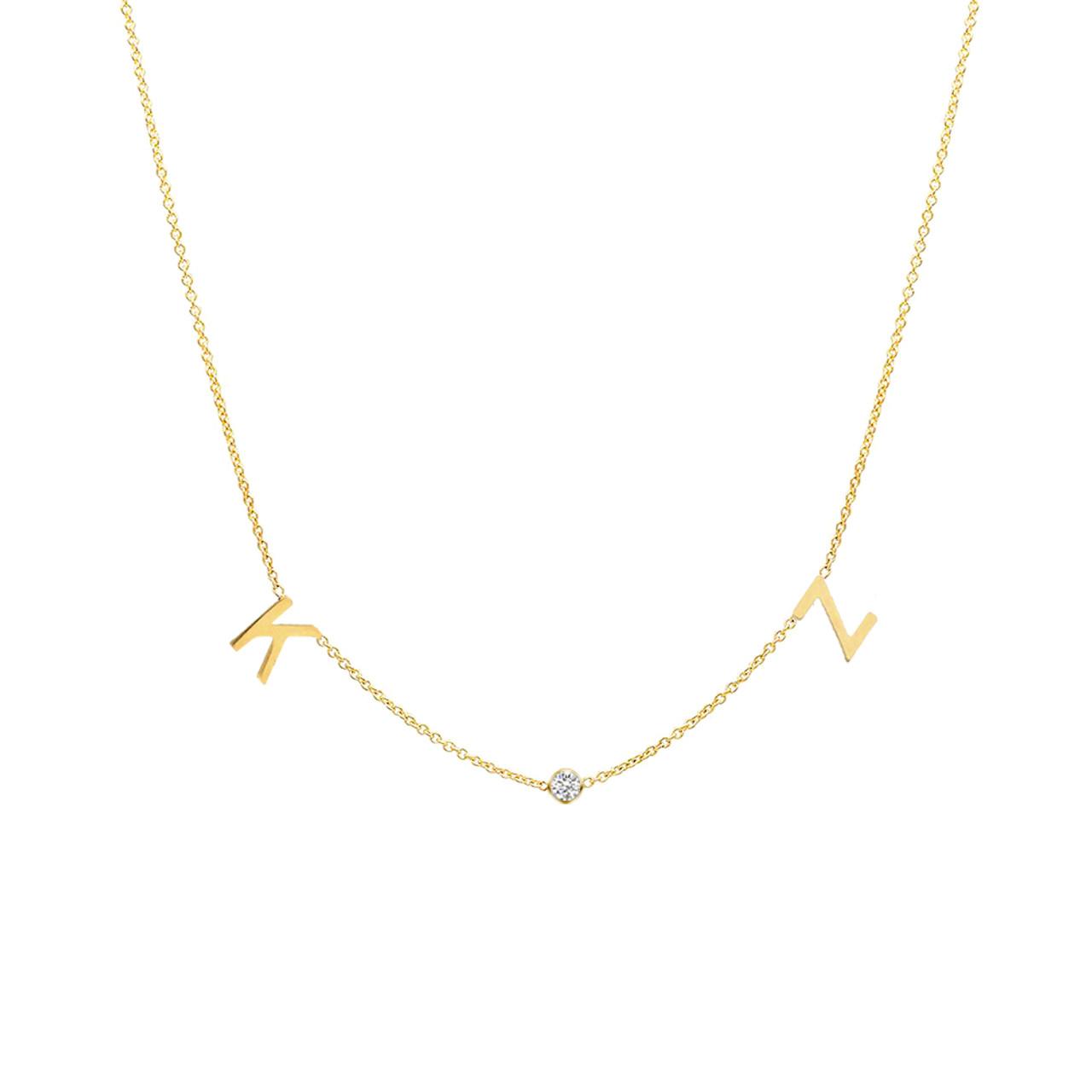 6a784c86e4a65 14K gold space letter and diamond bezel necklace