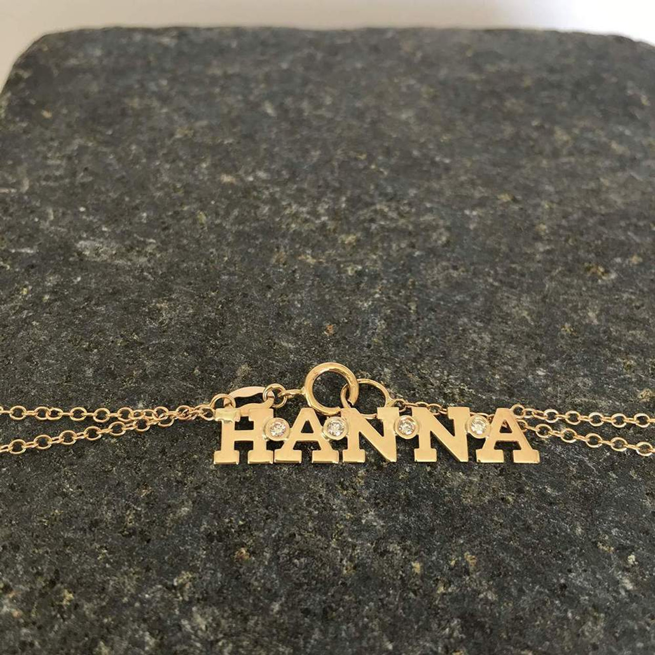 14K gold space letter and diamond bezel necklace