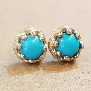Turquoise Crown Earring 14K Yellow Gold