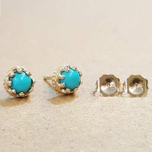 Turquoise Crown Earring 14KY