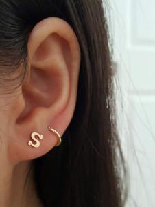 Letter Stud Earrings 14 Karat Gold