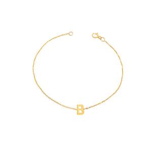Side way Initial Bracelet 14K Yellow Gold