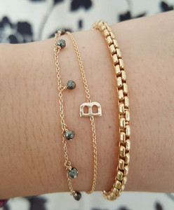 Sideway Initial Bracelet 14 Karat Gold