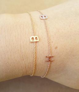 Two Initials Bracelet 14 Karat Yellow Gold