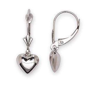 Heart Lever Back Dangle Earrings 14K White Gold