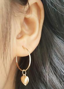 Heart Dangle Hoop Earrings 14KY