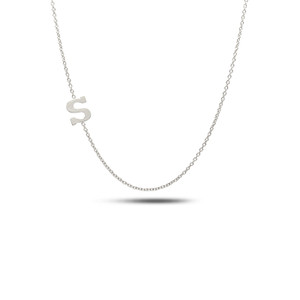 Sideways Initial Necklace 14K White Gold