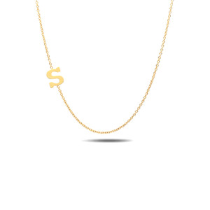 Sideways Initial Necklace 14K Yellow Gold