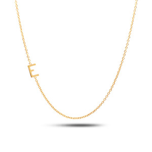 Sideways Block Initial Necklace 14KY Gold