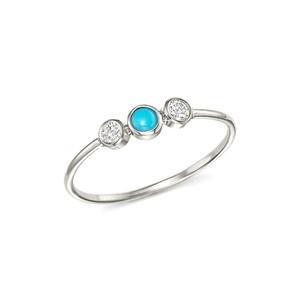 Triple Bezel Set Diamonds and Turquoise Ring 14K White Gold
