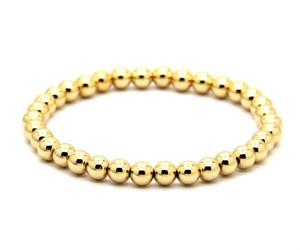 Classic bead stretch bracelet 14k yellow gold