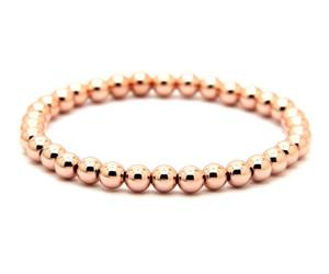 Classic bead stretch bracelet 14k rose gold