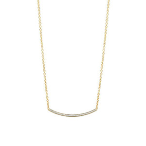 Diamond Crescent Necklace Adjustable 14K Yellow Gold