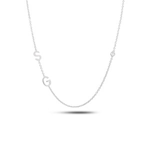 14K white gold sideways two initials and diamond bezel necklace