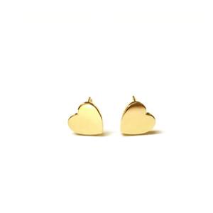 14k gold engraved hearts stud earrings