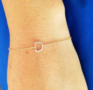 Single diamond initial bracelet 14K Gold