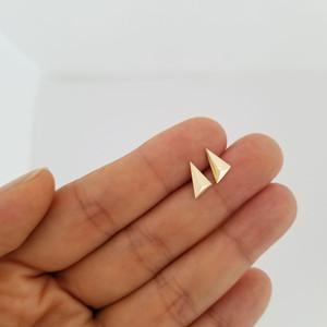 Triangle stud earring 14k gold