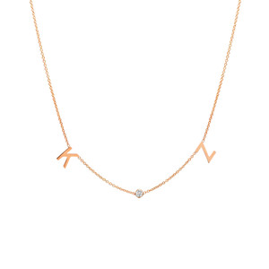 14K rose gold initials and diamond bezel necklace