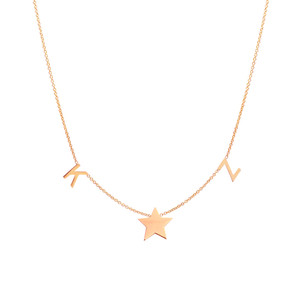 14K rose gold space letter and star necklace