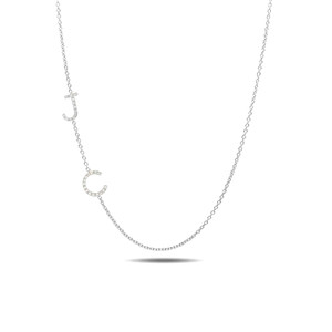 14k with gold diamond asymmetrical initials necklace
