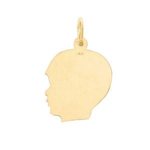 14K Yellow Gold Boy Head Profile Charm Necklace