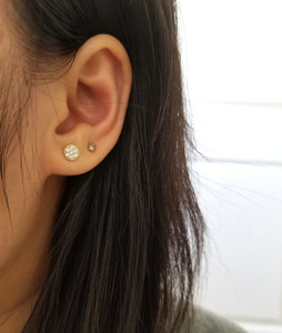 Diamond Disc Stud Earrings 14K Gold