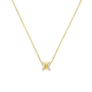 Diamond butterfly necklace 14K Yelow Gold