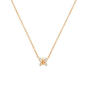 Diamond butterfly necklace 14k rose gold