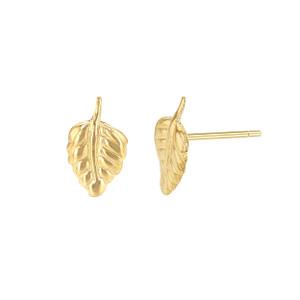 Tiny leaf stud earrings