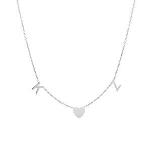 14K white gold space letter and heart necklace