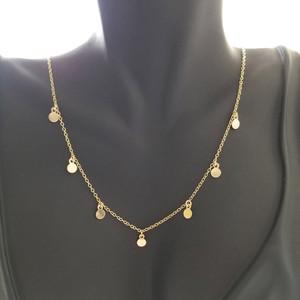 14k gold fringe discs necklace