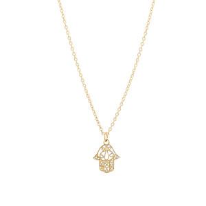 14K Yellow Gold Hamsa Necklace