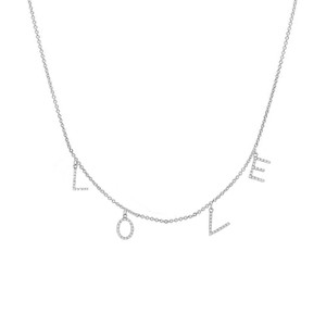 diamond space initial necklace