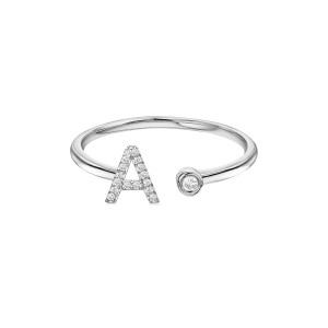Diamond Initial With Bezel Cuff Ring
