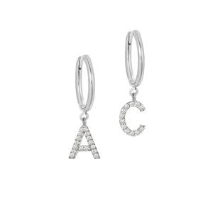 Hoop Earrings With Diamond Initial