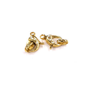 14K Gold Diamond Lobster Clasp with Stationary Ring