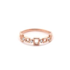 Dot Dash Diamond Ring 14K Rose Gold