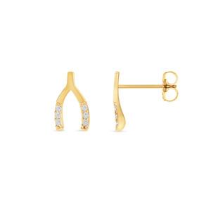 Diamond Horseshoe Stud Earring 14K Yellow Gold