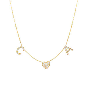 Diamond space initial and heart necklace 14k yellow gold
