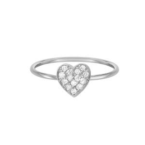 Diamond Heart Ring 14K White Gold