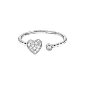 Diamond Heart With Bezel Cuff Ring 14K White Gold