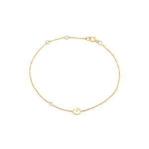 Single Diamond with Initial Bracelet 14K Yellow Gold