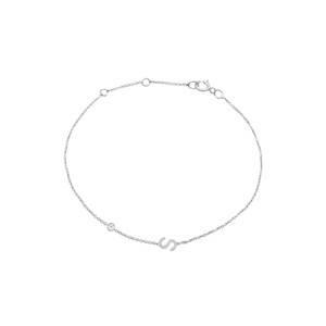 Single Diamond with Initial Bracelet 14K White Gold