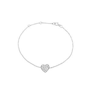 Diamond Heart Bracelet 14K White Gold
