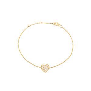 Diamond Heart Bracelet 14K  Yellow Gold