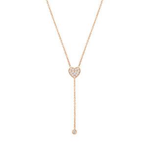 14K Rose Diamond Heart Drop Bezel Necklace