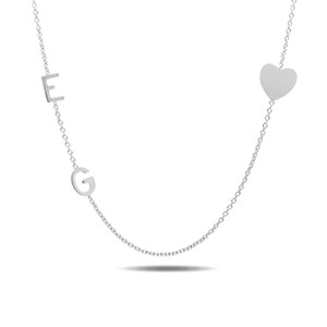 14K white gold sideways two initials and heart necklace